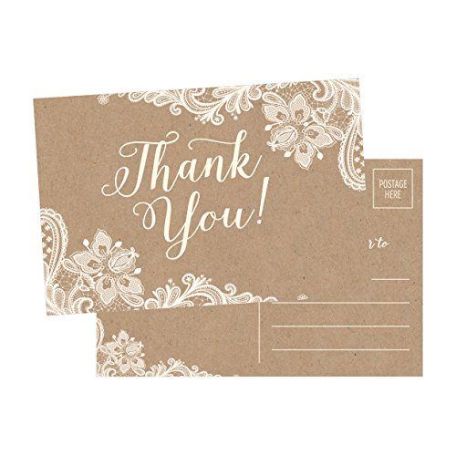 50 4×6 kraft thank you postcards bulk cute rustic matte